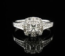 KAY'S PRINCESS NATURAL 3/4ctw DIAMOND HALO SOLID 14K WHITE GOLD ENGAGEMENT RING