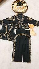 Beautiful 5 pieces Boy Charro Suit,Black W/Gold Charro Suit W/hat,Charro  Size 4