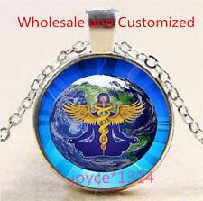 Yoga Earth Cabochon Silver/Bronze/Black/Gold Glass Chain Pendant Necklace #5156