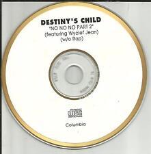 Beyonce DESTINY'S CHILD No No No Part 2 WITHOUT RAP GOLD DISC PROMO DJ CD Single