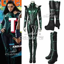 Thor 3 Ragnarok Trailer Hela Cosplay Costume Green One-piece Jumpsuit and Boots