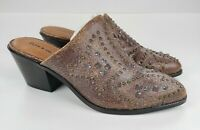 Frye & Co Distressed Leather Studded Mules Phoenix Chocolate Brown US 8 New