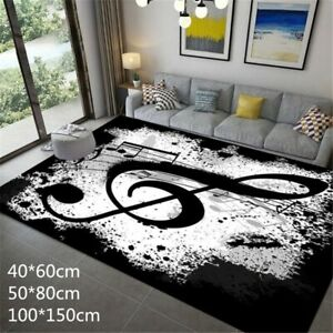 3D Black and White Note Carpets for Living Room Flannel Large Carpet Area Rugs