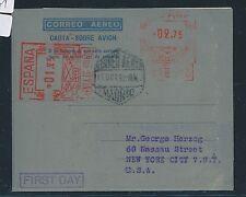 07661) Spanien GA Aerogramme 1,25 + 2,75Ptas LF 26aI  FDC 11.10.52 > USA