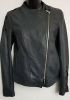 NWT $325 Massimo Dutti Sheep Leather Embroidered Moto Jacket Size XS Dark Gray