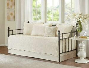 6pc DAYBED COVERLET QUILT TILE SET IVORY MATELASSE FRENCH COTTAGE Twin BEDDING