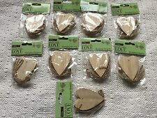 NEW 9 Packets Wooden Shabby Chic Hanging Love Heart Wedding Wishing Tree Tags