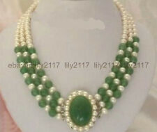 Fashion Jewelry 7-8mm white Freshwater pearl green jade pendant Necklace 17-19""
