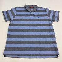 Izod Polo Shirt Men's Size 2XL XXL Short Sleeve Blue Gray Striped Casual Golf