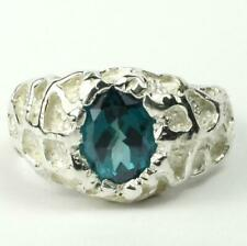 925 Sterling Silver Men's Nugget Ring, Paraiba Topaz, SR168