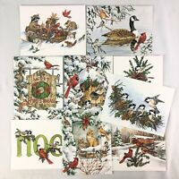Vintage Leanin Tree Christmas 9 Cards & Envelopes Wildlife Designs