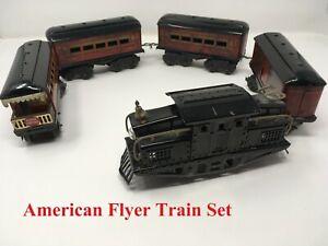1930's American Flyer Prewar Tin Litho Locomotive Mail 2 Passenger Observation