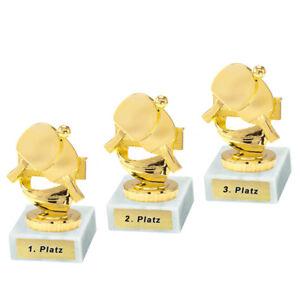 3 Tischtennis-Pokale mit 1.2.und 3.Platz oder Wunschgravur (P0193)