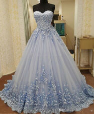 Unique Prom Dresses Applique Lace Wedding Formal Evening Ball Gown Custom Size