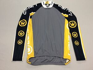 CANARI CROWN LONG SLEEVED BLACK GRAY & YELLOW CYCLING JERSEY MENS SIZE LARGE