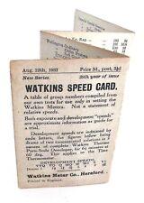 WATKINS EXPOSURE METER SPEED CARD