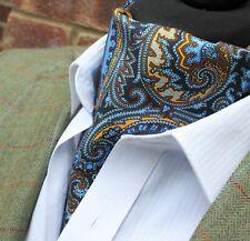 Silk Cravat Ascot.Quality Hand Made in UK.Electric Blue & Orange  DBC12-16500-1