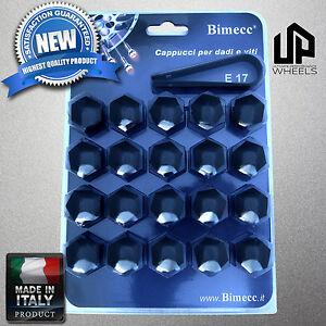 (20) NEW 17MM HEX BLACK CAP COVERS FASTENERS LUG BOLTS NUTS RIMS WHEEL ITALIAN