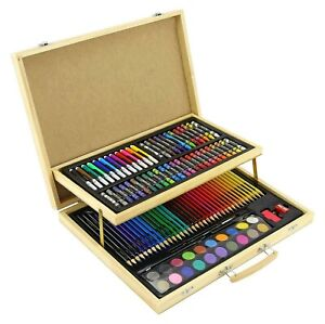 108pc WOODEN ART CASE COLOURING PENCILS PAINTING SET CHILDRENS ADULTS