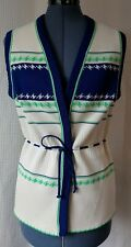 Vintage Cream Vest with Navy and Lime Green Details