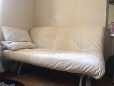 Grand canapé lit convertible clic-clac type Bz blanc, avec surmatelas IKEA