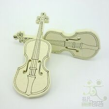 10pcs Brown Big Violin Wood Flatback/Buttons Lots Embellish Craft DIY