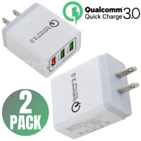2 Pack Quick Charge 3.0 Fast USB Wall Charger Adapter US Plug For iPhone Samsung