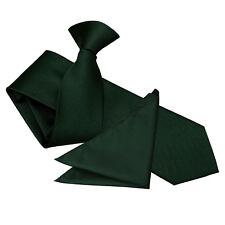 DQT Woven Plain Solid Check Fuchsia Pink Formal Slim Clip On Tie & Hanky Set