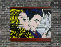 Roy Lichtenstein Oil Painting In the Car Hand-Painted Canvas NOT a Print in