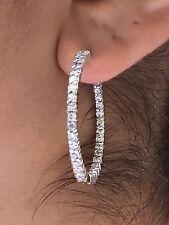 2.52 Ct Diamante Pendientes De Aro F Si1 del revés Moderno 14k Oro Blanco
