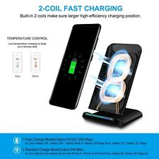 PULESEN Fast Wireless Charger Qi Wireless Charging Pad Stand 2 Coils Samsung