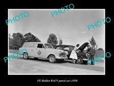 OLD LARGE HISTORIC PHOTO OF 1958 FE HOLDEN RACV PATROL SERVICE CAR, MELBOURNE
