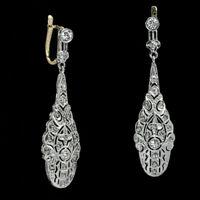 1.20 Ct Round Diamond Antique Art Deco Drop Dangle Earrings 14K White Gold Over