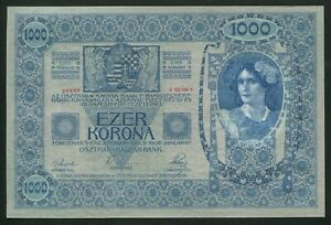 u867 AUSTRIA HUNGARY 1000 KRONEN 1902 P#8.a BANKNOTE WITHOUT OVERPRINT UNC