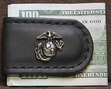 Handcrafted Leather Money Clip with Marine Logo Concho