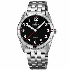 F16907/3 Festina ladies stainless steel black face bracelet watch with arabic