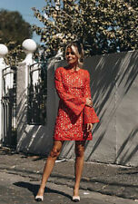 New COUNTRY ROAD Red Lace Long Bell Sleeve Knee Length Shift Dress AU6 $299