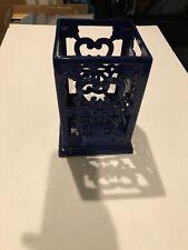 Decorative Tabletop Centerpiece Holder (Heavy)CastIron Powder Coated Blue Square