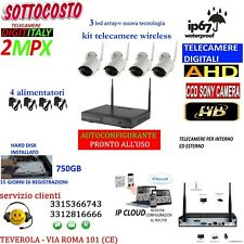 KIT WIRELESS WIFI VIDEOSORVEGLIANZA AHD 2MP DVR FULL HD 4 TELECAMERE HD 750GB