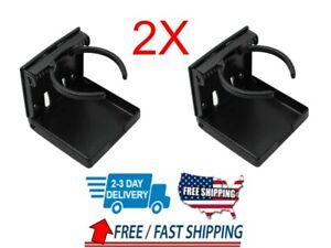 Black Universal Adjustable Folding Cup Drink Holder Car Truck Boat Camper RV 2PC