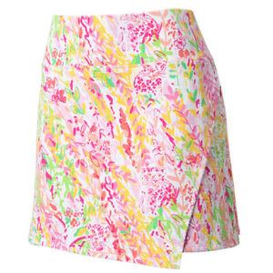 IBKUL Cat Cay Faux Wrap Skort S M L Pink Golf Tennis Skirt UPF 50