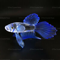 RARE Retired Swarovski Crystal Siamese Fighting Fish Blue 236718 Mint Boxed