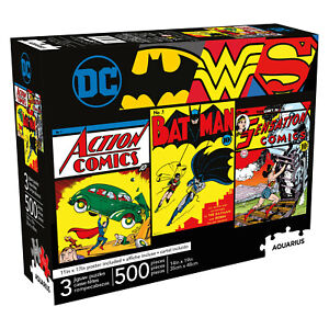 Aquarius 3 x 500 Piece Jigsaw Puzzles - DC Comics Retro