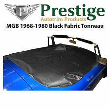 MGB Tonneau Cover Black Fabric Canvas without Headrest Pockets 1968-1980