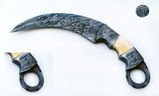 beautiful handmade damascus hunting karambit knife