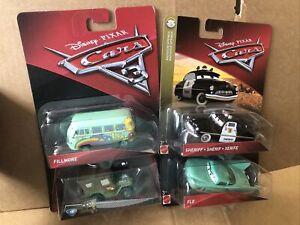 DISNEY CARS DIECAST - Character Bundle, Sheriff, Flo, Fillmore - See Description