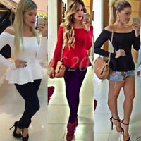 New Women Blouse Off Shoulder Long Sleeve Ladies Top T-shirt Loose Casual Tops