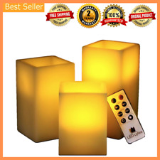 3Pcs Pillar LED Flicker Flameless Electric Fake Battery Candles w Remote & Timer