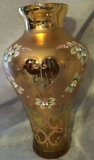"Bohemian -Italian Art Glass Vase 10-1/4"" Amber Gold 24 KT Enameled Flowers*"