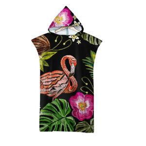 Flower Flamingo Bird Feathers Hooded Poncho Towel Beach Spa Surf Swim Xmas Gift